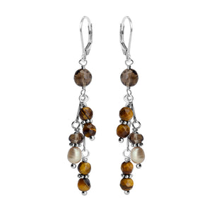 Lovely Tiger's Eye, Smoky Quartz and Pearl Sterling Silver Earrings