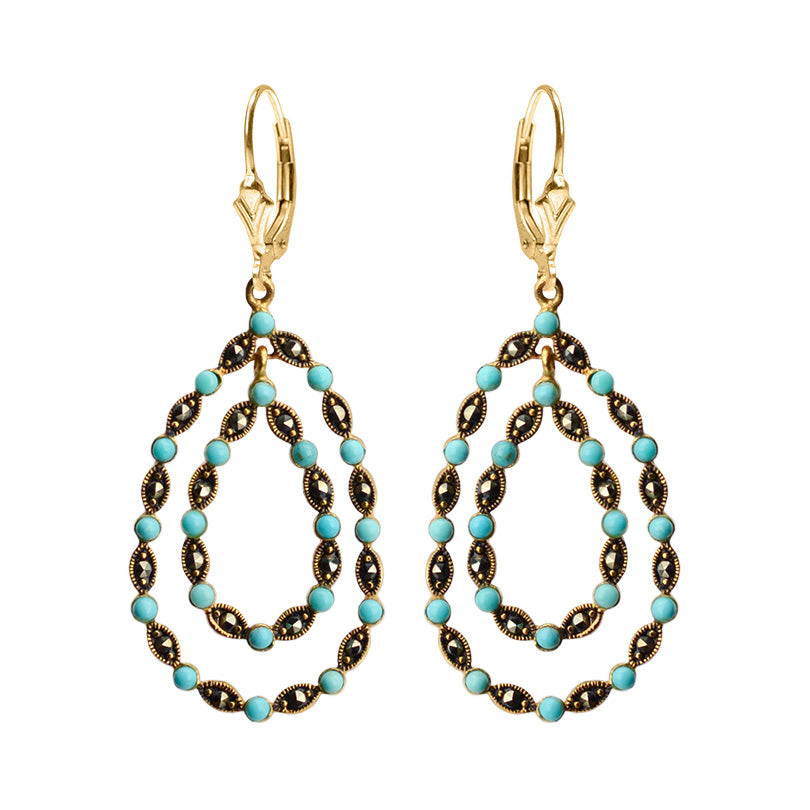 14kt Gold Plated Marcasite with Magnesite-Turquoise Balls Gold Filled Lever-Back Earrings