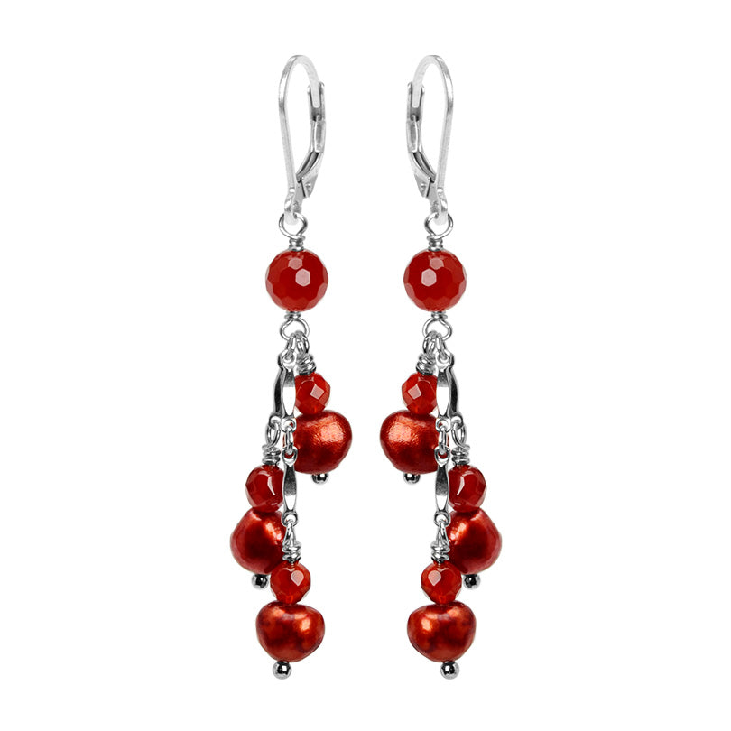 Yummy Cherry Red Fresh Water Pearl Sterling Silver Earrings