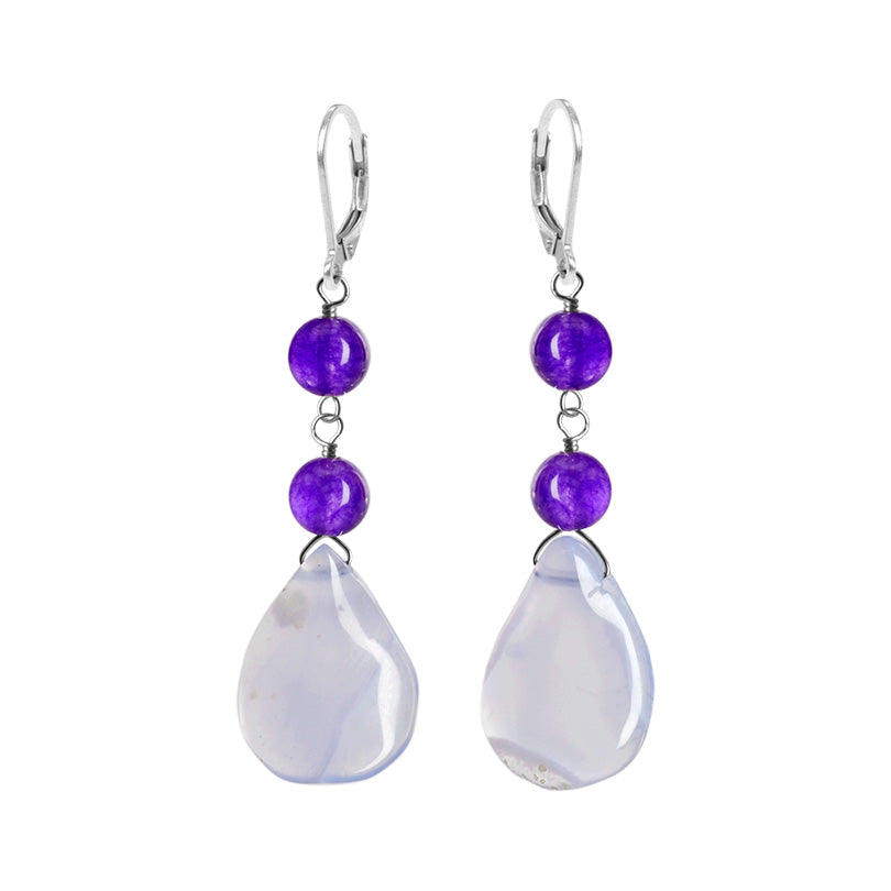 Calming Lavender Jade & Agate Sterling Silver Earrings