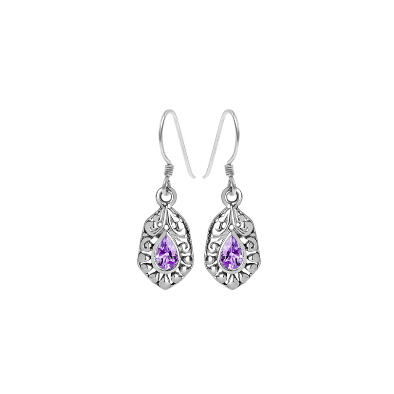 Petite Orchid Purple Amethyst Sterling Silver Earrings