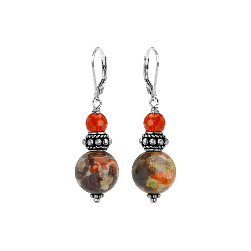 Striking Orange Unakite and Carnelian Sterling Silver lever back Earrings