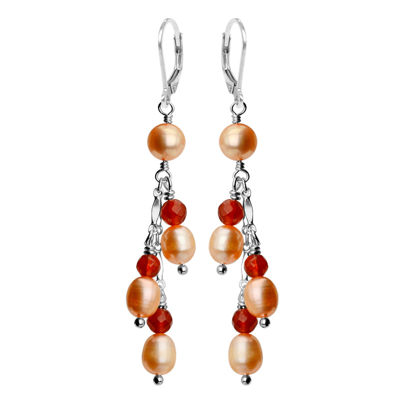So Pretty! Peach Pearls with Carnelian Accent Sterling Silver Lever Back Earrings