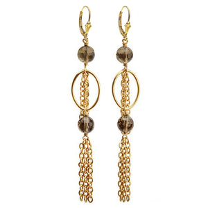Gold Filled Large Smoky Quartz Gold Fringe Earrings