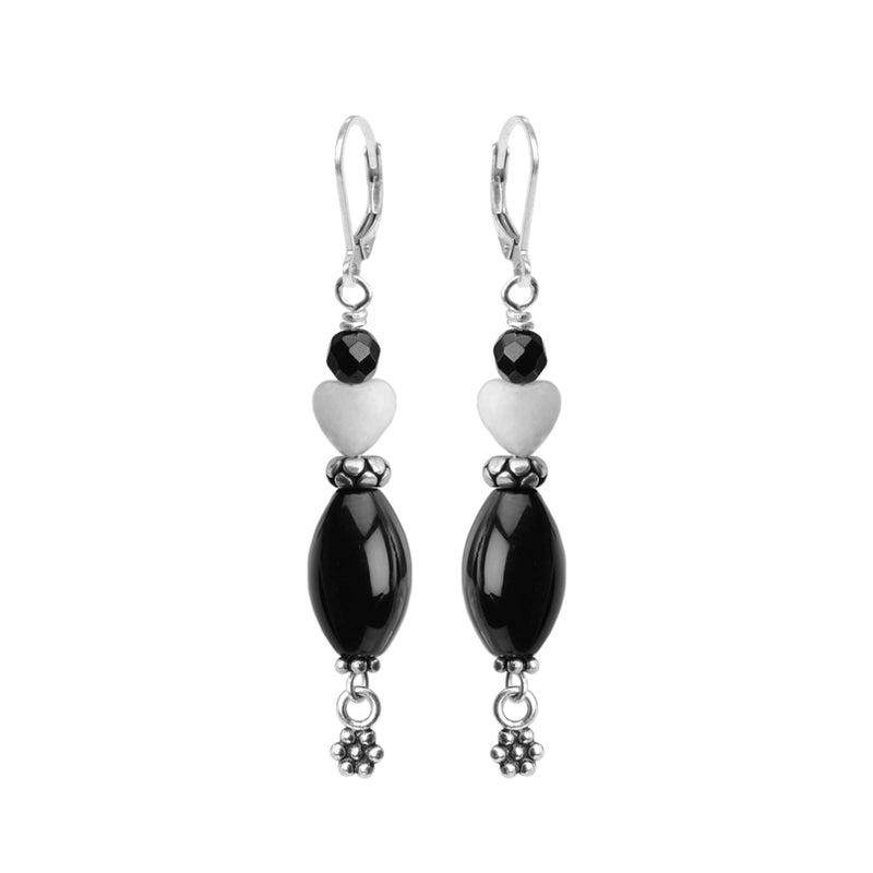 Unique Black Onyx and Jade Hearts Sterling Silver Earrings