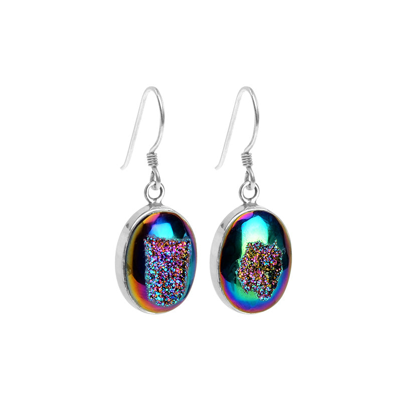 Kaleidoscope of Shimmering Colors Titanium Drusy Sterling Silver Earrings