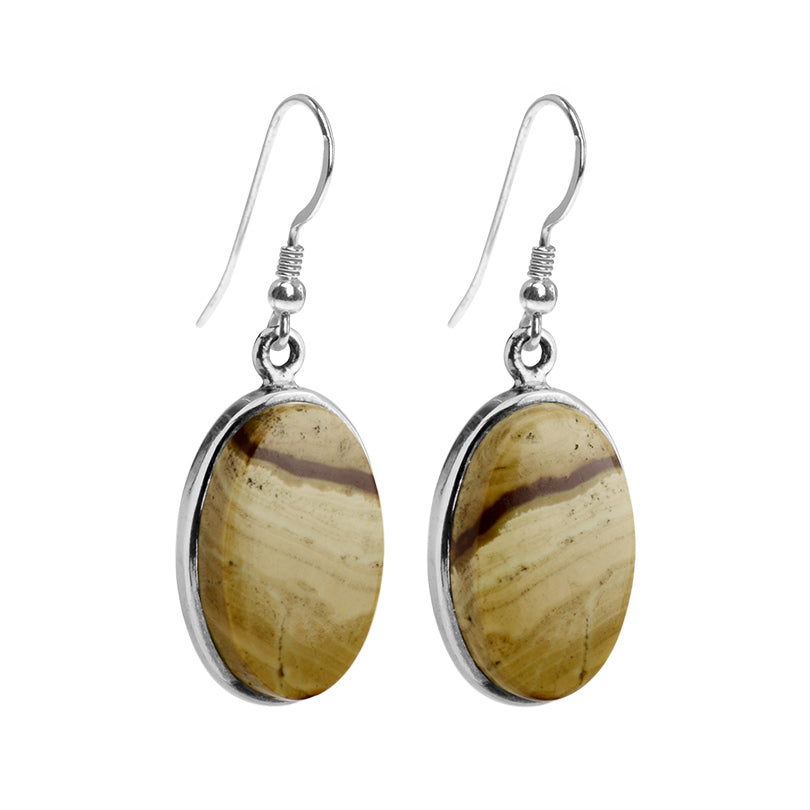 Classic Picture Jasper Sterling Silver Earrings