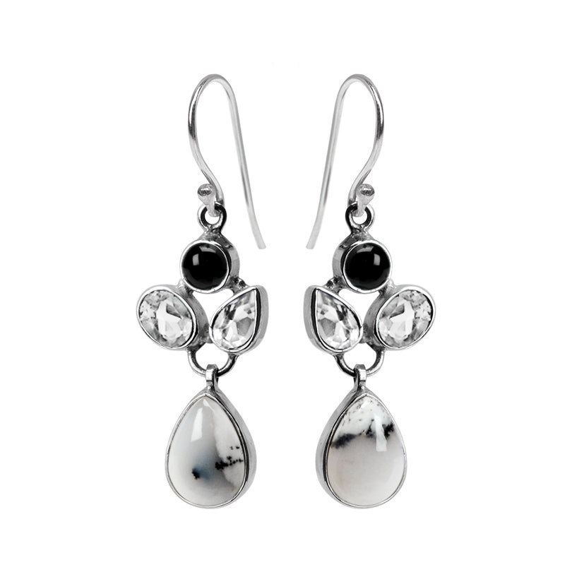 Stunning Dendrite Opal, Faceted Quartz and Black Onyx Sterling Silver Earrings