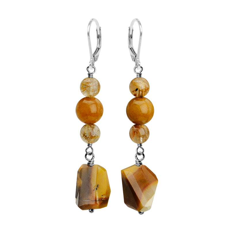 Shimmering Golden Colors of Moukaite and Gold Rutilated Quartz Sterling Silver Earrings