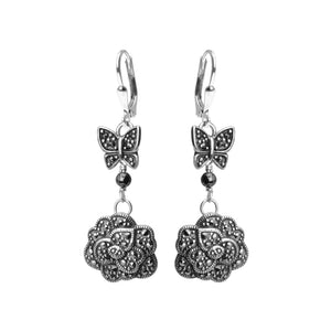 Floral & Butterfly Marcasite Sterling Silver Earrings