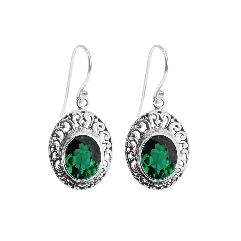 Gorgeous Emerald Green Quartz Balinese Sterling Silver Earrings