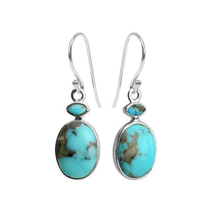 Enchanting Arizona Natural Blue Turquoise Sterling Silver Earrings
