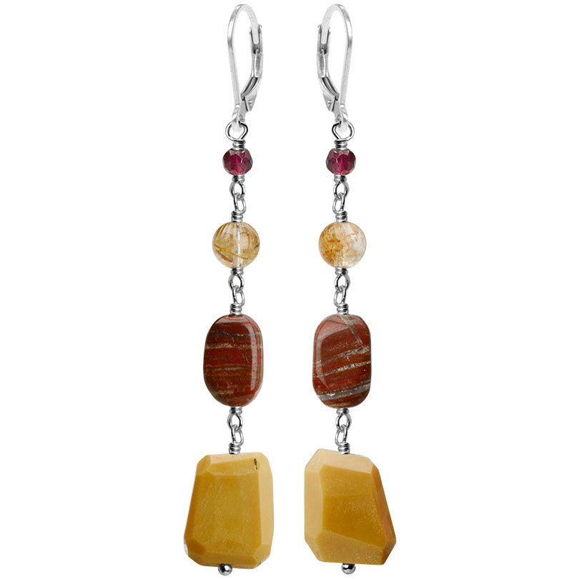 Brilliant Colors of Moukaite, Jasper, Gold Rutilated Qtz. and Garnet Sterling Silver Earrings