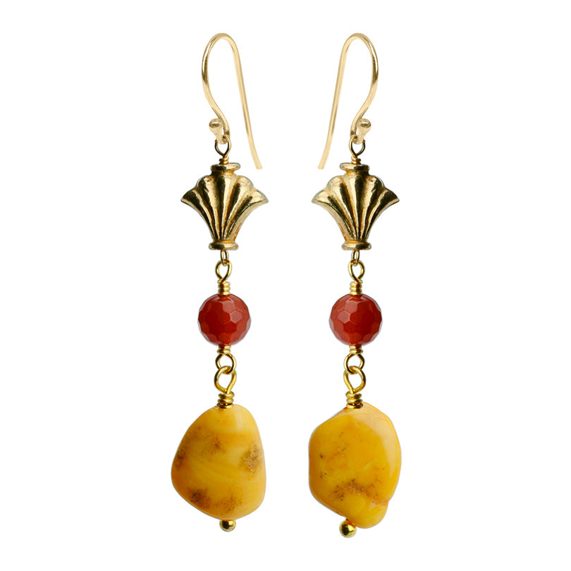 Colorful & Bright Carnelian and Baltic Amber Gold Filled Earrings