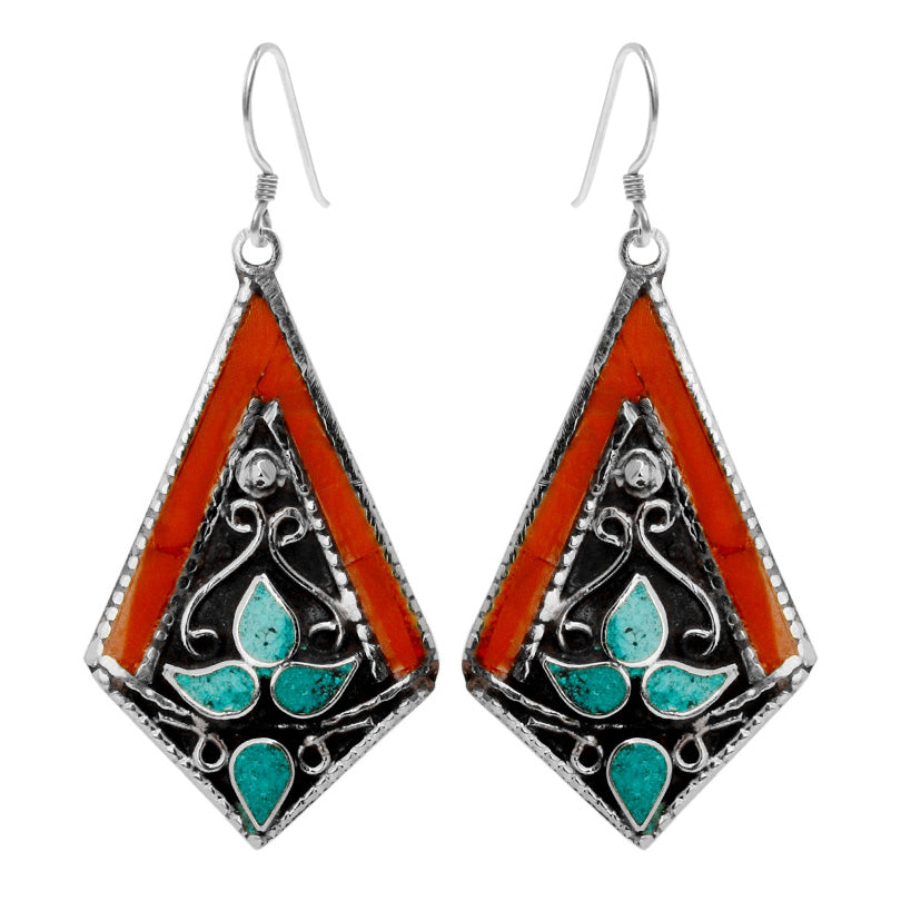 Absolutely Gorgeous Himalayan Coral and Turquoise Silver Plated Nepal Earrings