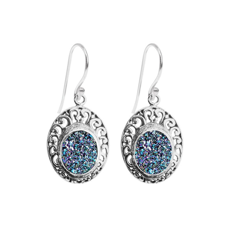 Radiant Blue Drusy Balinese Sterling Silver Filigree Statement Earrings