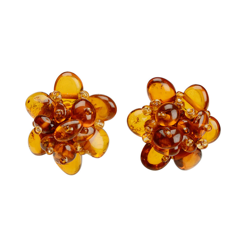 Delightful Cognac Baltic Amber Flower Clip-On Gold Plated Earrings