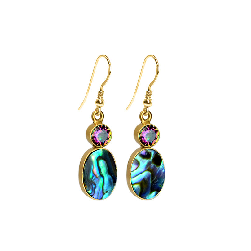 Shimmering Abalone and Mystic Quartz Gold Filled Hook Earrings