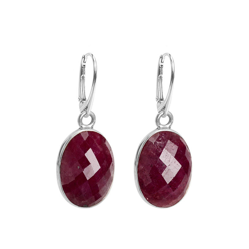 Rich Cranberry Red Faceted Corundum Large Stone Sterling Silver Earrings