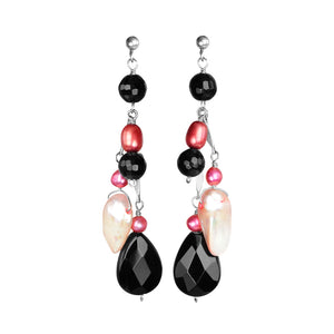 Flirty Fresh Water Pearl and Black Onyx Sterling Silver Earrings