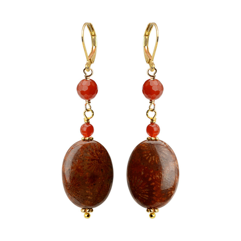 Great Color Fossilized Coral and Carnelian Gold Filled Earrings