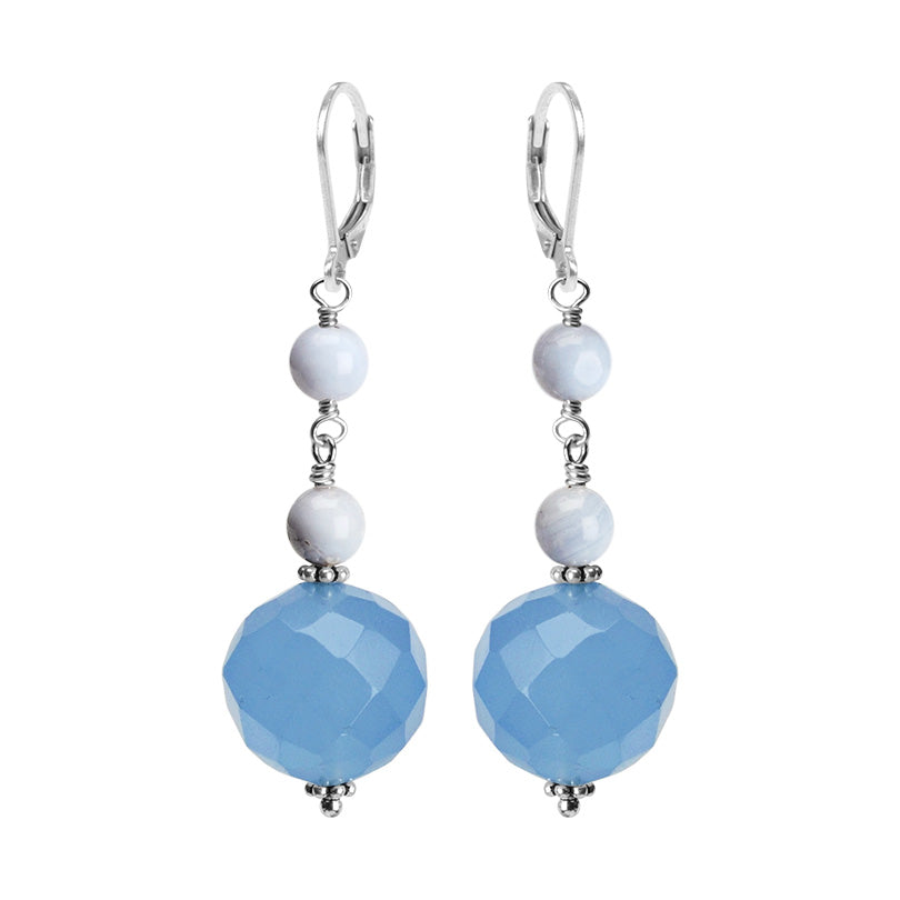 Oh So Beautiful Faceted Blue Agate & Blue Lace Agate Sterling Silver Earrings