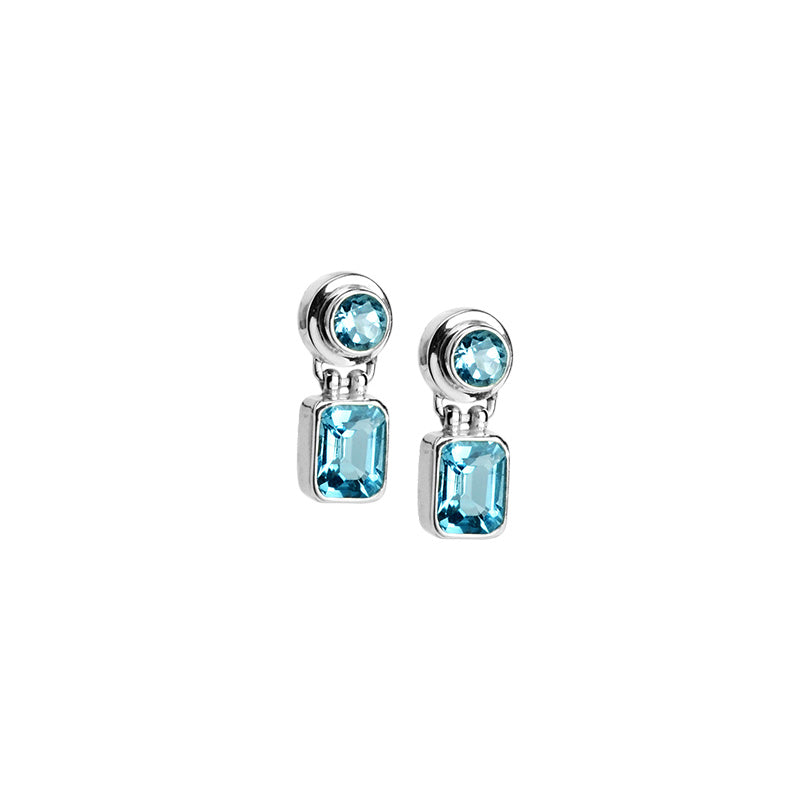 Radiant, Icy Blue Topaz Sterling Silver Stud Earrings