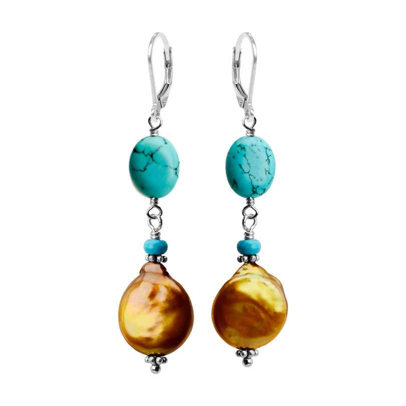 Lovely Blue Chalk Turquoise and Golden Coin Pearl Sterling Silver Earrings