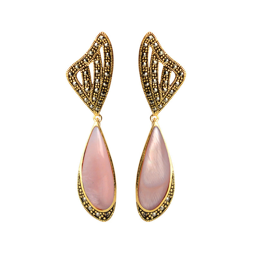 Lovely Shimmering Pink Mother of Pearl and Marcasite Gold Plated Earrings