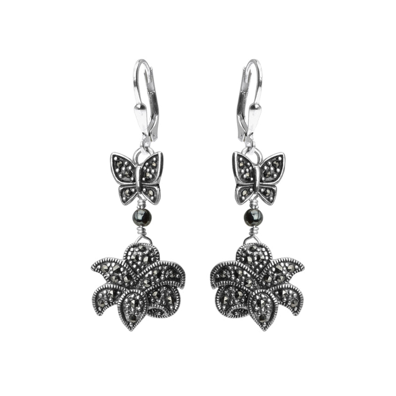 Butterflies and Flowers Marcasite Sterling Silver Earrings