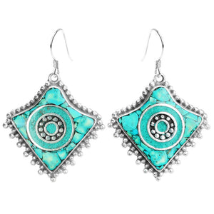Genuine Himalayan Turquoise Stones Silver Plated Nepal Earrings