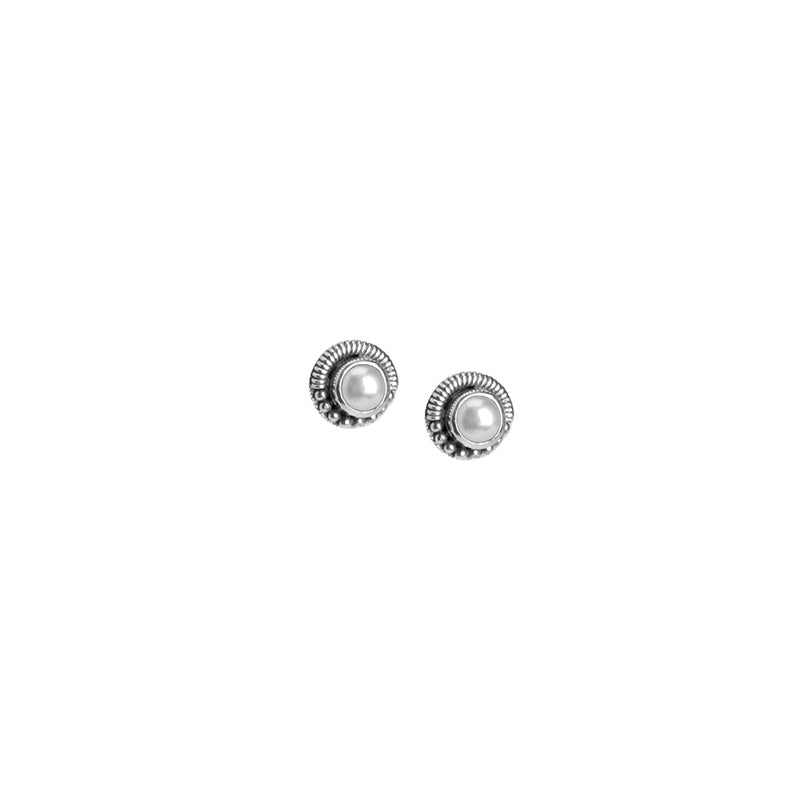 Darling Bali Style Fresh Water Pearl Sterling Silver Earrings