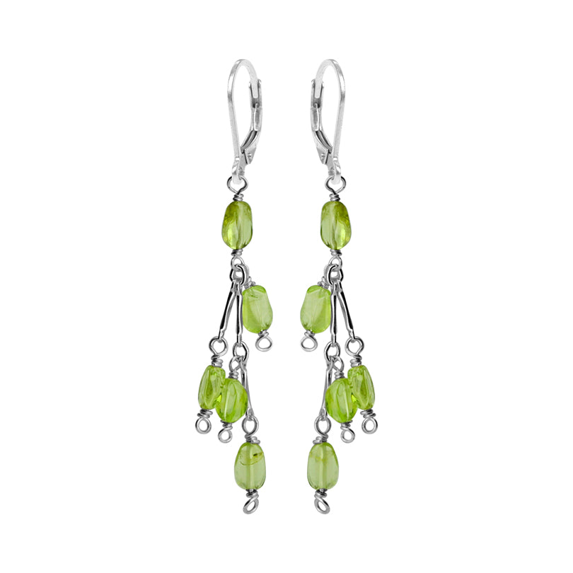 Delicate Petite Peridot Sterling Silver Earrings