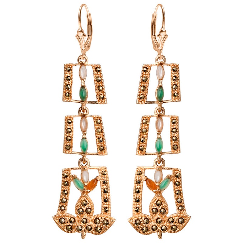 Exquisite Art Deco Design Colorful Multi Stones and Marcasite Rose Gold Plated Earrings