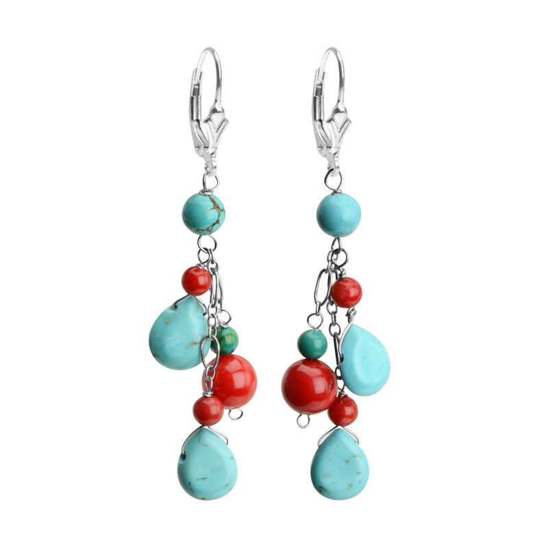Sassy Turquoise and Coral Sterling Silver Earrings