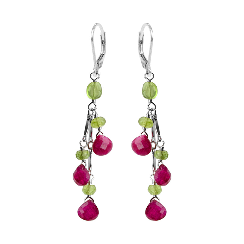 So Pretty Ruby and Peridot Sterling Silver Earrings
