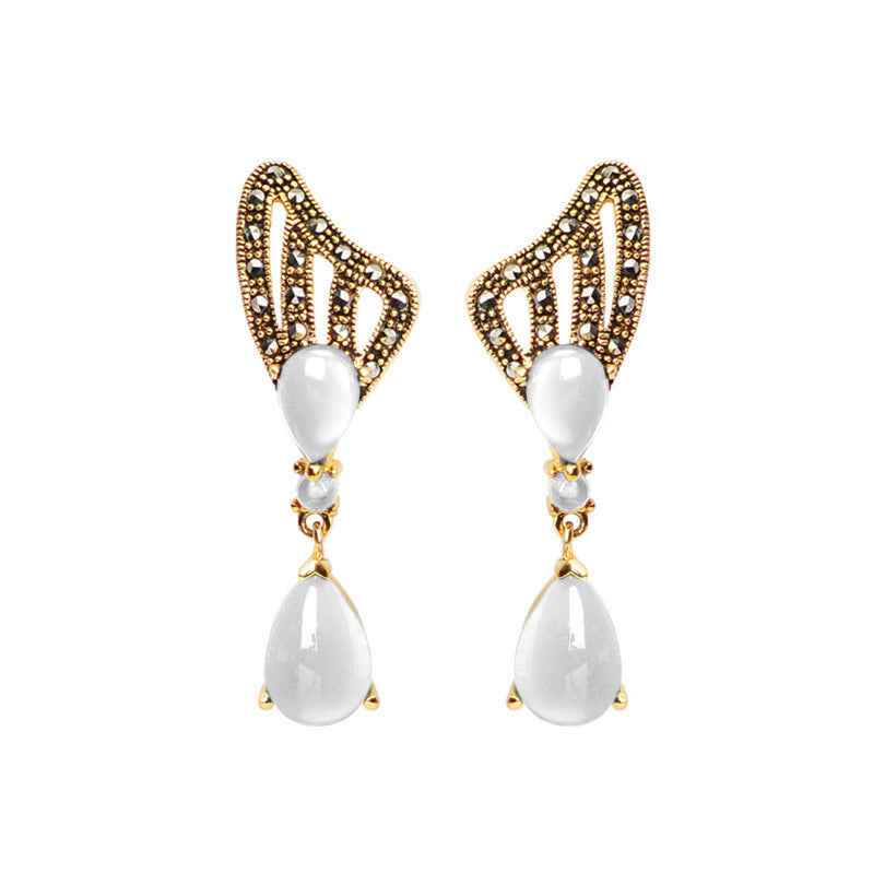 Elegant White Mother of Pearl Marcasite Gold Plated Statement Earrings