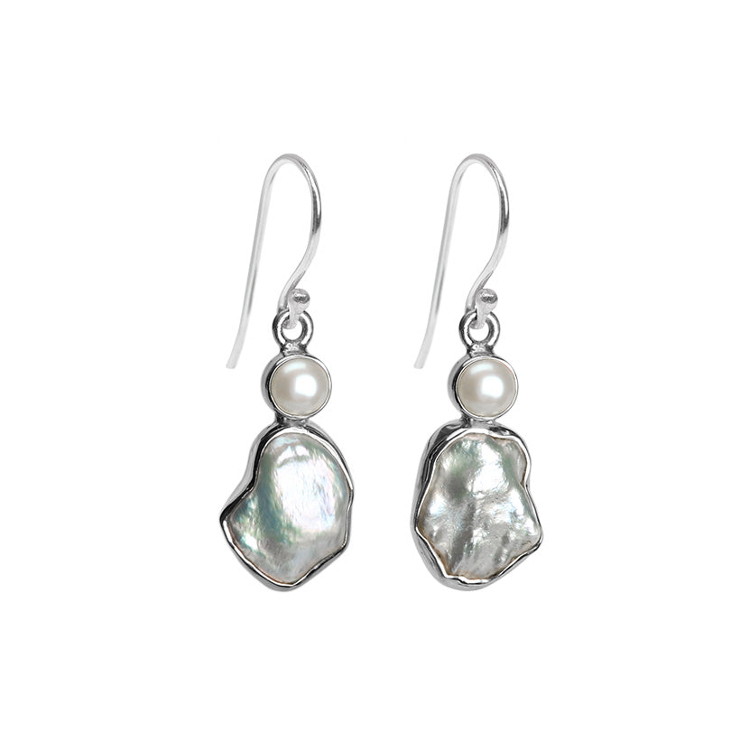 Glimmering White Fresh Water Pearl Sterling Silver Earrings