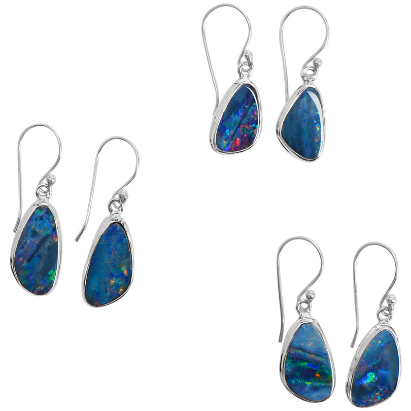 Sparkling Kaleidoscope Of Fiery Colors Australian Blue Opal Sterling Silver Earrings