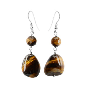 Charming Tiger's Eye Sterling Silver Earrings
