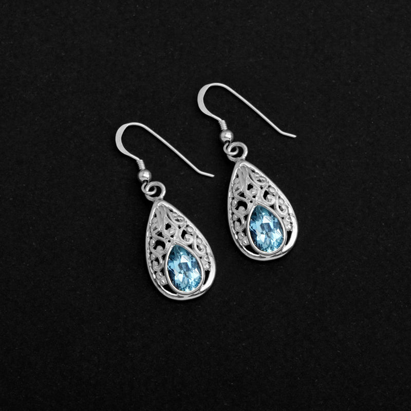 Gorgeous Blue Topaz In Lovely Scroll Design Sterling Silver Statement Earrings