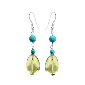 Lemon Quartz With Turquoise Accent Sterling Silver Earrings