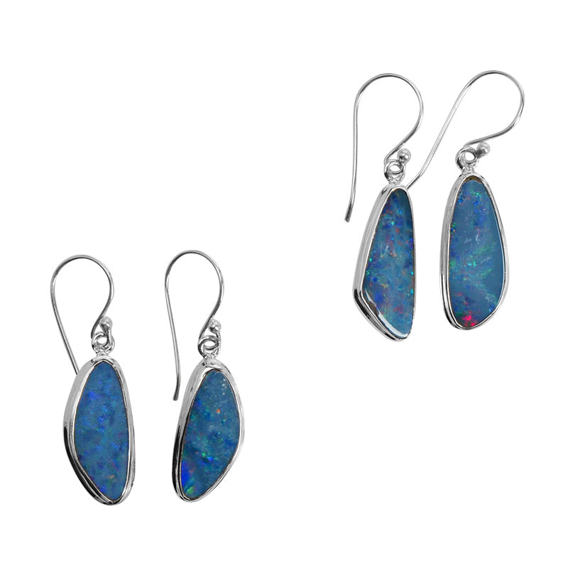 Gleaming Prism Of Shining Colors Australian Blue Opal Sterling Silver Earrings