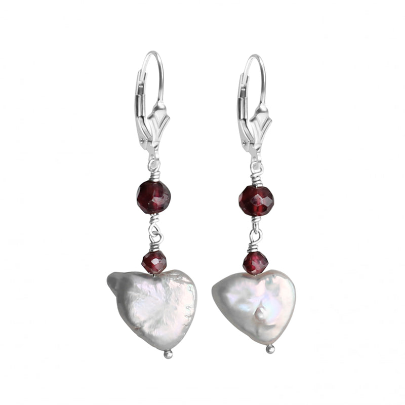 Adorable White Fresh Water Pearl Hearts and Garnet Sterling Silver Earrings