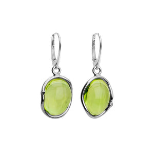 Gorgeously Clear Caribbean Green Amber Sterling Silver Earrings