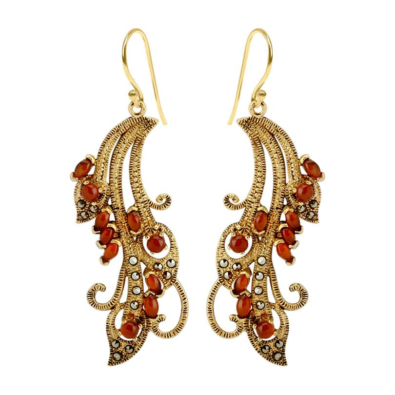 Peacock Lace Marcasite Gold Plated Earrings