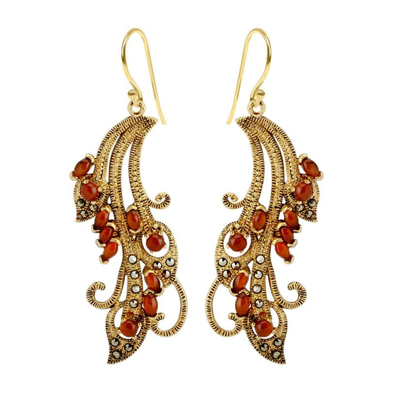 Peacock Lace Marcasite 14kt Gold Plated Earrings