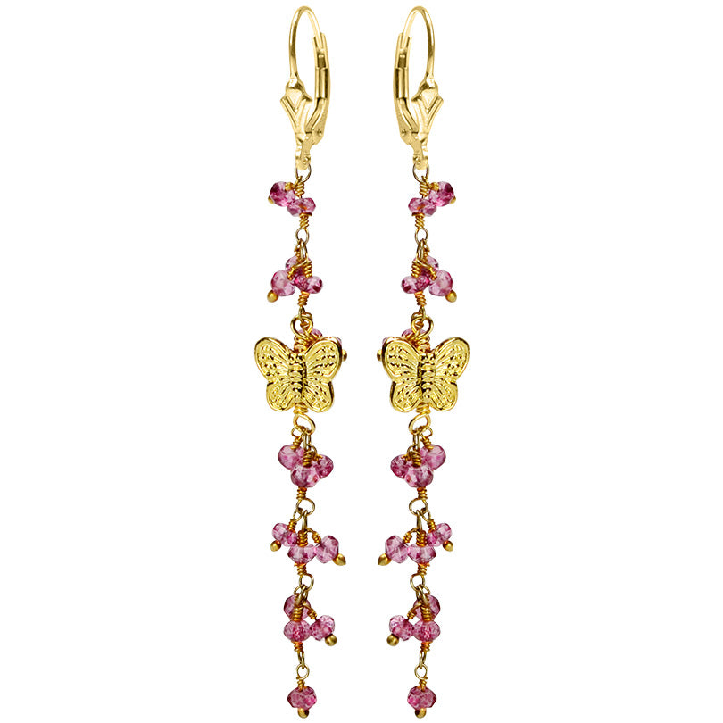 Absolutely Darling Faceted Pink Quartz Gold Filled Butterfly Earrings
