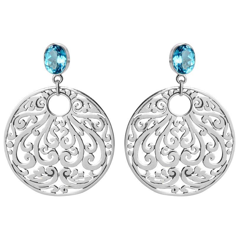 Sparkling Sky Blue Topaz Balinese Sterling Silver Earrings