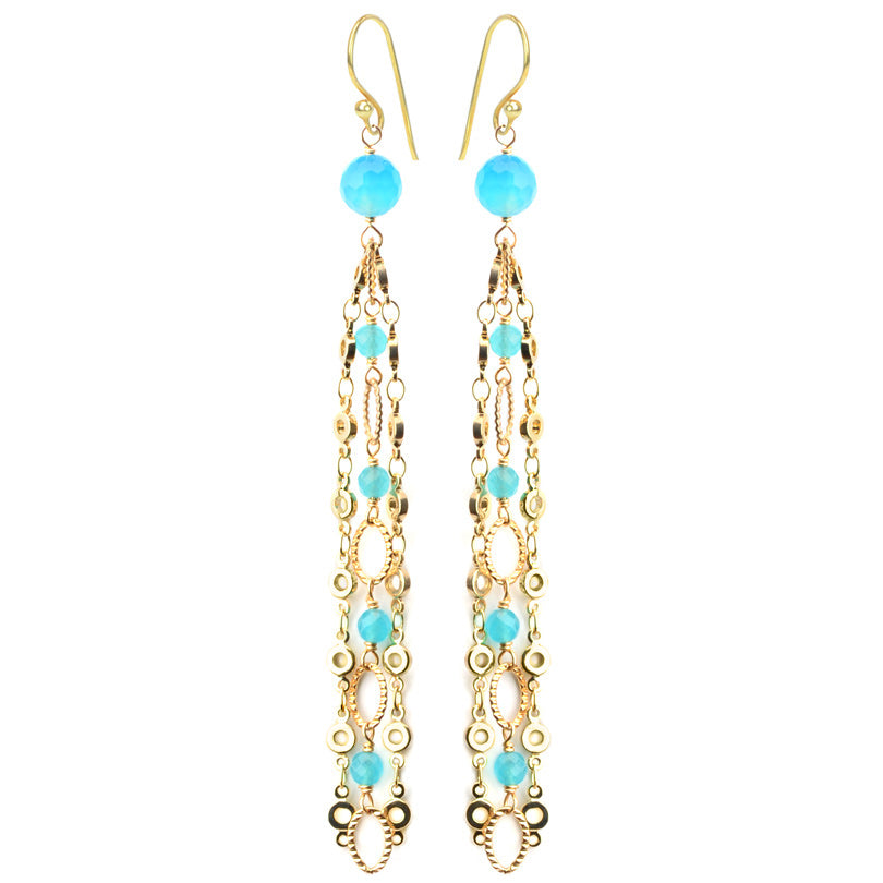 Glamorous Blue Agate Gold Plated Chain Earrings